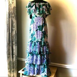 Alexia Ardmor ruffled hydrangea dress purple Sz.6